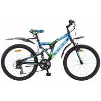 Велосипед Stels Mustang V030 24 (2017) Черный/синий/зеленый...