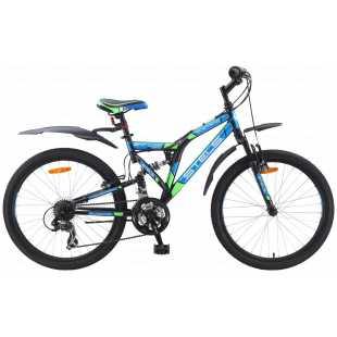 Велосипед Stels Mustang V030 24 (2017) Черный/синий/зеленый